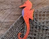 Marine metal wall art seahorse beach house coastal porch deck  orange sealife