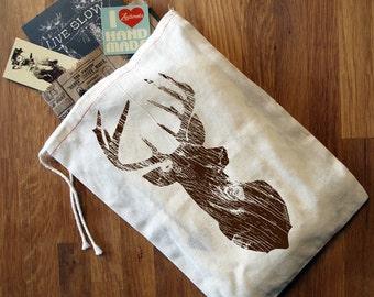 """GIFT BAG 8x11"""" DEER - Hand Printed Drawstring Reusable Cotton Bag"""