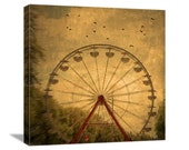 "Ferris Wheel Nature Photography ""Dark Ride"" Flock of Birds Art Carnival Photograph, Black Birds Photo, Rust Sepia Brown, Canvas Gallery Wrap"