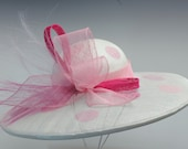 ANALISE White and Pink Sinamay Kentucky Derby Hat