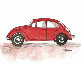 Red Punch Buggy Watercolor Print