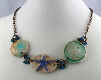 Beach-comber rustic nautical necklace, mixed media sea shell jewelry