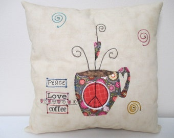 Throw Pillow, Decorator Pillow, Accent Pillow, Summer Pillow, Coffee Theme Decor, Peace Theme, Summer Decor,  Appliqued Pillow, Free-Motion,