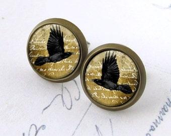 Ancient Raven Posts, Crow Earrings. Bird Earrings. Glass Dome Earrings. Raven Stud Earrings. Black Bird Post Earrings. Flying Crow Posts