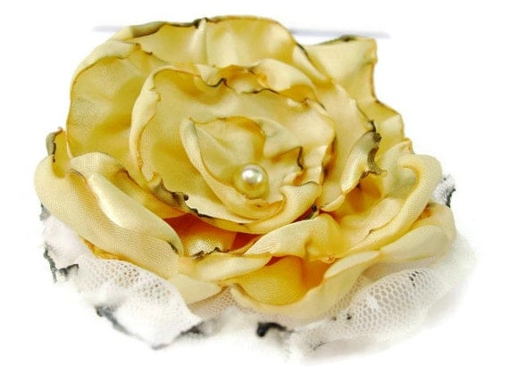 Bridal Hair Flower, Yellow Couture Flower Accessory, Hair Clip or Brooch, Bridal Sash, Wedding, Maternity Sash