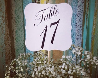 Table Numbers, Wedding, Shower, Table number on a stick