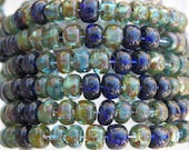 2/0 (6x4mm with 2mm Hole) Transparent Aqua Sapphire Picasso Mix Czech Glass Seed Bead Strand (AW256)