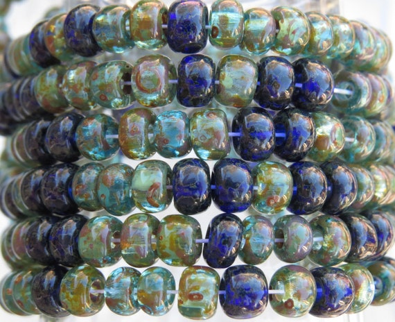 il 570xN.717192640 91i9 2/0 (6x4mm with 2mm Hole) Transparent Aqua Sapphire Picasso Mix Czech Glass Seed Bead Strand (AW256) by beadsandbabble