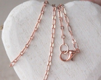 """Rose Gold Chain necklace choose 14"""" - 40"""" pink rose gold chain rose gold plate chain soldered link very long rose gold necklace chain SF110"""