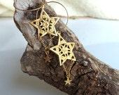 Bohemian Earrings Boho Earrings Gypsy Earrings Gold Earrings Star Filigree Earrings Bohemian Jewelry Boho Jewelry Gypsy Jewelry