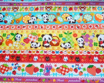 Kawaii Japanese Fabric - Striped Pattern Pandas Animals Fruit on Yellow - Fat Quarter - (ha141107)