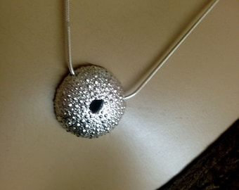 Sea Urchin necklace sterling silver skeleton Pendant-Nautical theme necklace marine life lovers-beach lovers
