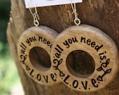 All You Need Is Love- Wood Hoop Earrings- in Oregon Myrtlewood (MOD 28)- Wooden Jewelry, Boho Jewelry