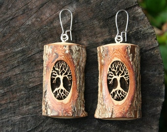 Wood Tree of Life Earrings- in Sassafras Wood- Wooden Jewelry, Boho Jewelry