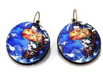 Earth Planet Earrings - Science Jewelry - Large - Solar System, Teacher, Gift Idea