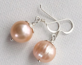 Peach Pearl Earrings. Baroque Freshwater Pearls and Sterling Silver. Real Pearl Jewelry