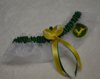 Handmade wedding garter keepsake JOHN DEERE  wedding garter