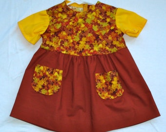 3-6 Month Baby Dress Fall Leaves