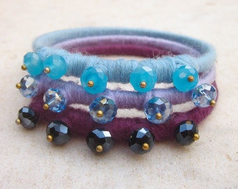 Ombre bangle bracelets, crystal fiber stacking bracelets, yarn bracelets, bracelet set, modern colorblock bangles, purple lilac baby blue
