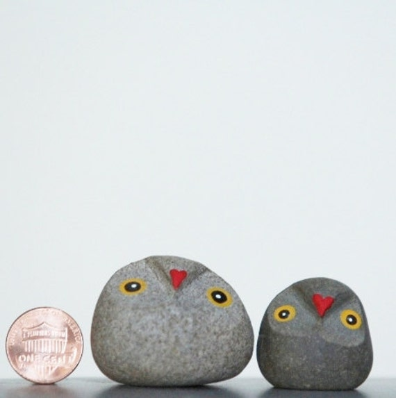 One Of A Kind Hand Carved and Hand Painted Pebble Owls Christmas gift valentine gift idea for her for him just us book worm gift for readers