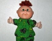 Cabbage Patch Newborn Surprise Doll Clothes  Boy or Girl John Deere Green Pajamas  10 Inch Doll