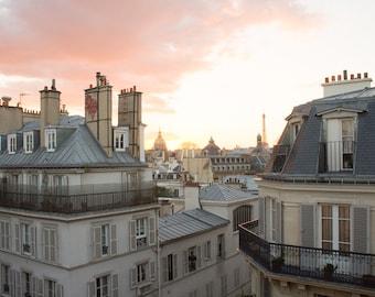 Paris Photography, Sunset on St Germain, Parisian Rooftops, Eiffel tower, Living Room Art, Paris Balcony, Rebecca Plotnick