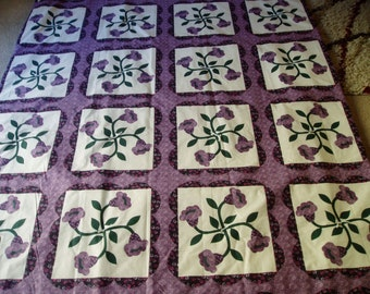 Large Purples and Green Floral Throw Quilt/Blanket