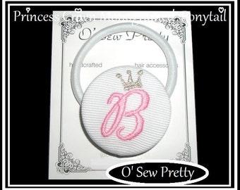 Monogrammed button Ponytail Holder, Ponytail Holder, Initialed Princess ponytail holder, Princess crown