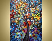 Original Painting Whimsical Abstract Tree of Life Landscape Oil Painting HAPPY by Luiza Vizoli 36x24 canvas ready to ship