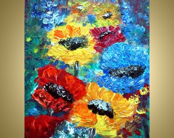 on SALE Original  Abstract Flowers Impasto Oil Painting by Luiza Vizoli SUMMER GARDEN 20x16 Stretched Canvas