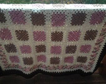 Neapolitan ice cream Granny Square Afghan FREE SHIPPING