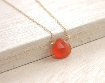 Orange Gold Necklace . Carnelian Goldfilled Necklace . delicate layering necklace