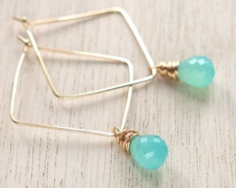 Turquoise Gold Square Hoops . Aqua Chalcedony Goldfilled Square Hoop Earrings