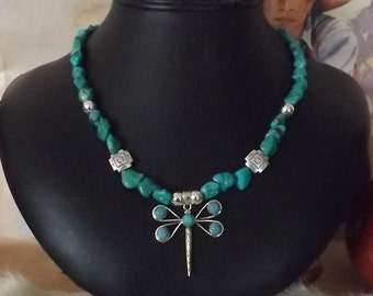 Dynamic Dainty Turquoise Southwest  Sterling Dragonfly Necklace