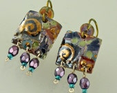 Porcelain Dangle Earrings with Purple Glass Bead Fringe