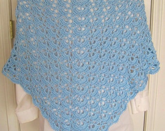 Crocheted Lacy Shawl - Sky Blue