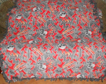 Skulls Flames on Gray Wood Look Dark Gray Back Fleece Tie Blanket No Sew Fleece Blanket No Sew Throw Fleece Throw 60x72 Approximate size