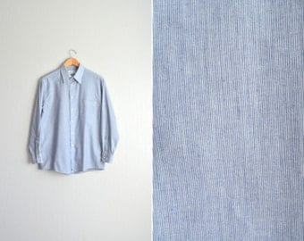 vintage men's '90s GREY PINSTRIPED long sleeve OXFORD button-up shirt. size l.