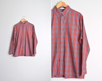 SALE // PLAID Button-Up Shirt // Long Sleeve - Red - Men's Vintage '90s. Size L/XL.