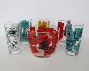 Retro Hazel Atlas Ice Bucket & Glass Set