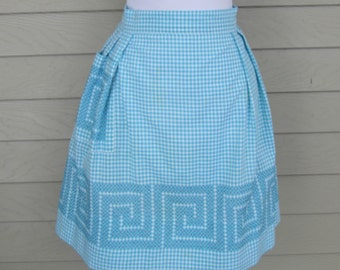 Turquoise & White Gingham Check Apron