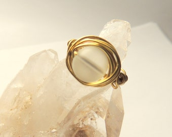 Frosted Quartz with Brass Wire Wrap Ring, Brass Wire Wrap Jewelry, Handcrafted, Chunky Ring