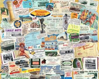 Vintage Delaware Coast Collage - Poster-size, signed Print