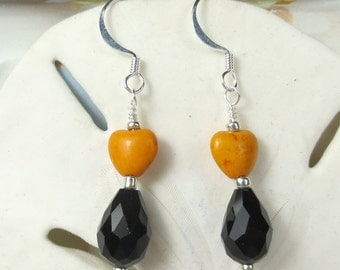 Black Teardrop with orangemagnesite heart bead earrings, Halloween earrings, black and orange earrings, holiday earrings