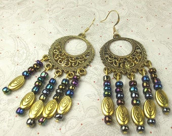 Chandelier earrings in multi color dark seed beads and gold plated metals holiday earrings oval spacer beads seed beads