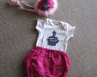 Pink leopard with number one cupcake party hat, onesie and diaper cover