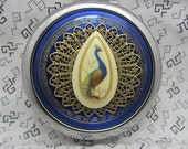Compact Mirror Peacock  On Blue Bridesmaid Gift Comes With Protective Pouch