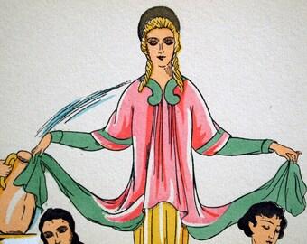 1925 French Art Deco Hand Coloured Pochoir Print of Ancient Greek Women's Fashion. By Paul Louis de Giafferri . Plate 2