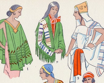 Vintage Art Deco Print - Women's Fashions in South America, Africa, Plate 3 - 1925 Pochoir Print