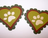 Paw Print, Pet Lover, Paws, Dog, Cat, Feline, Canine, Heart, Paper Piecing, Scrapbooking, Card Toppers, Favor Tag, Party Decor, Pet Birthday